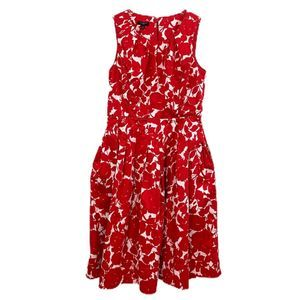 Talbots • Red White Floral Fit & Flare Dress • 2P